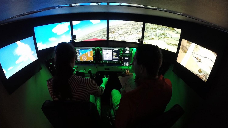 Britt flies a Redbird FMX at OSU Flight Team