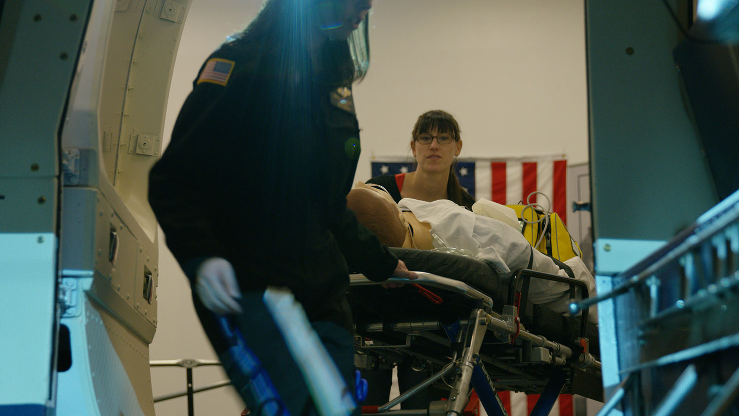 Rolling the patient into the simulator