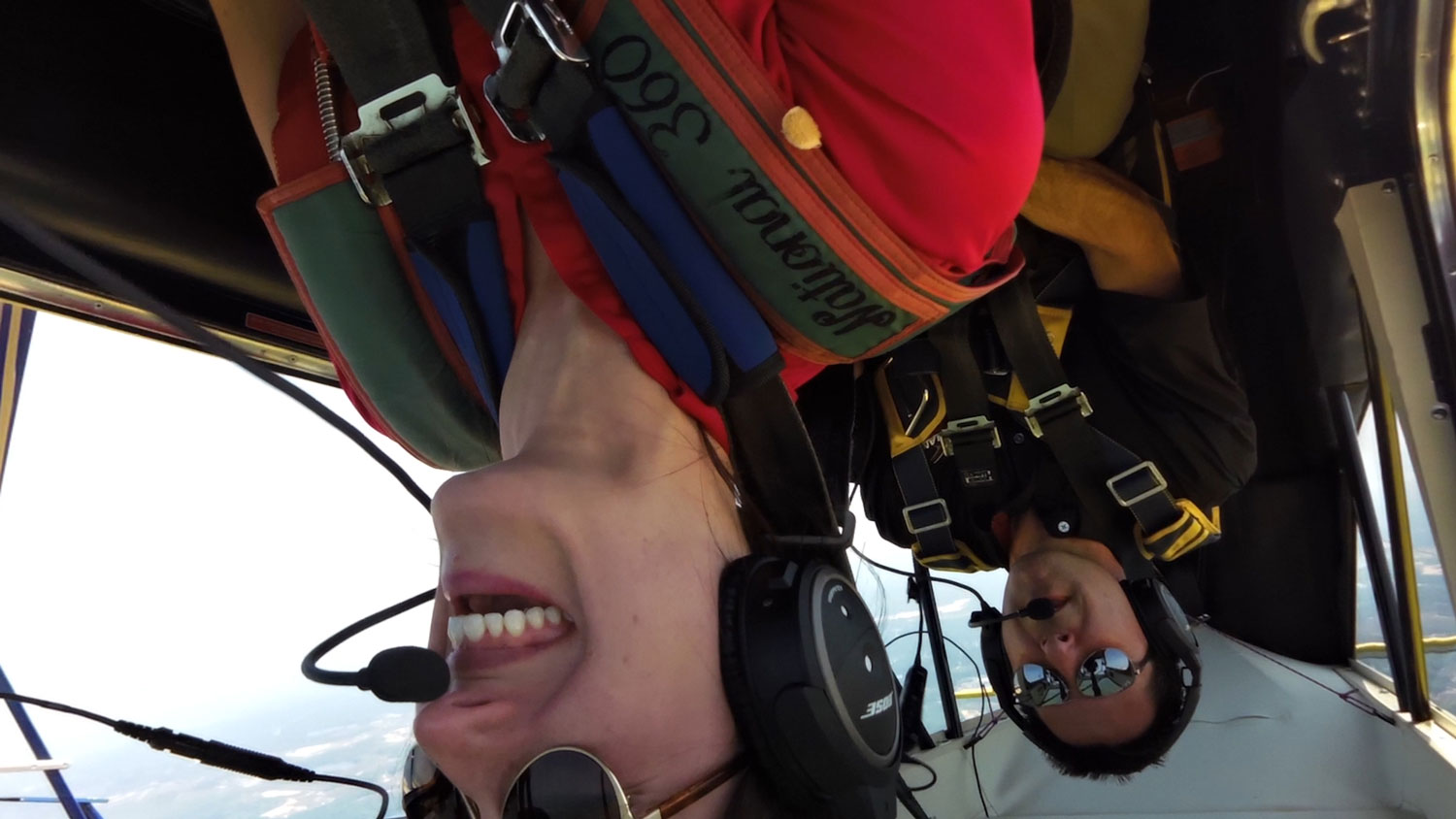 Britt upside down with Mike Goulian